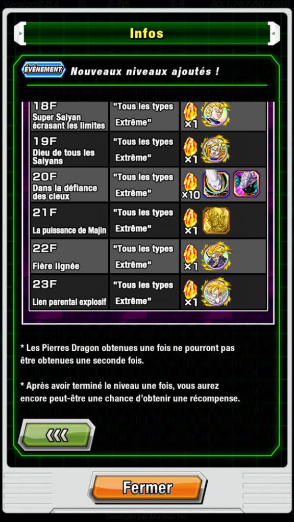 DBZ Dokkan Battle : nouveaux niveaux