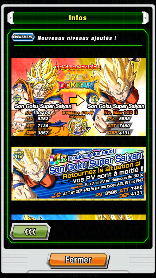 DBZ Dokkan Battle : Eveil Dokkan Goku