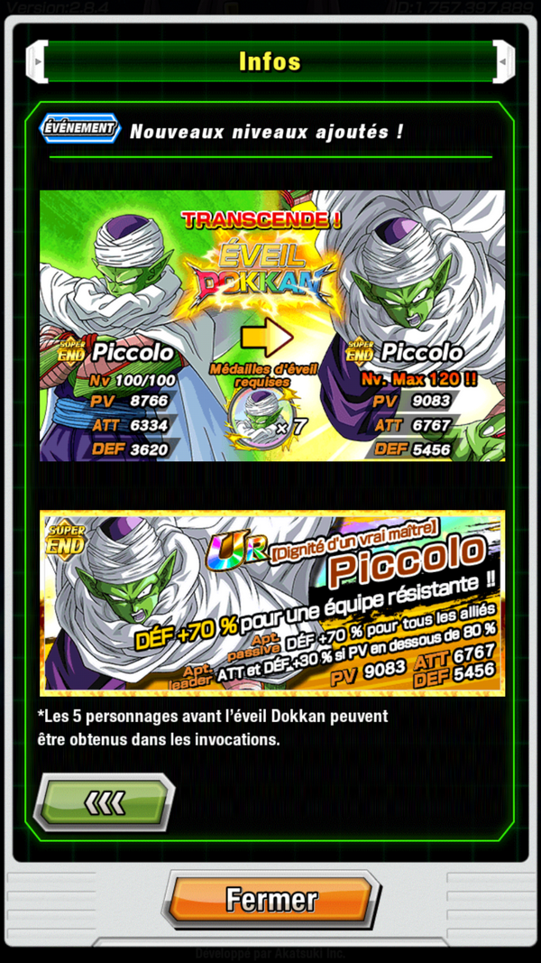 DBZ Dokkan Battle : Eveil Dokkan Piccolo
