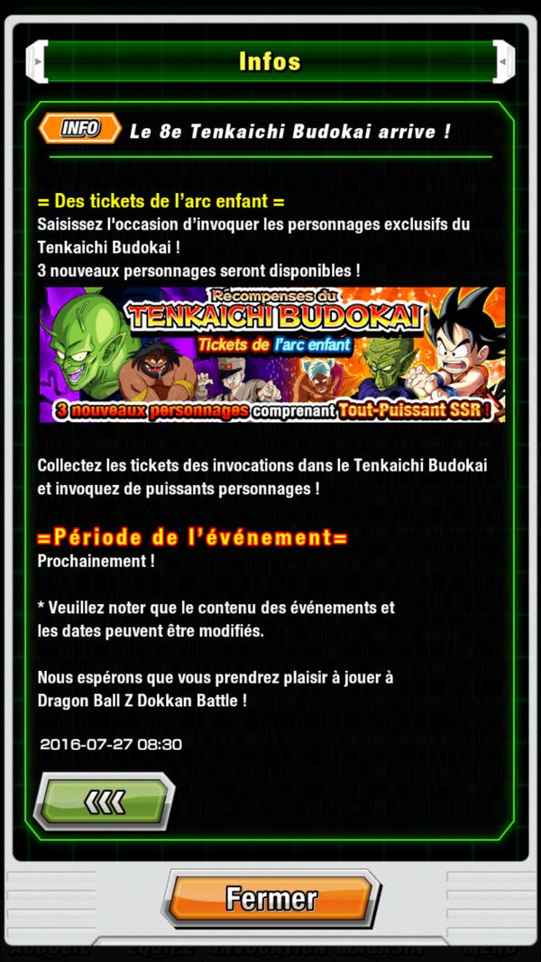 Dragon Ball Z Dokkan Battle : Le 8ème Tenkaichi Budokai