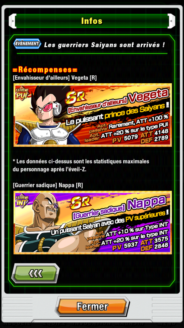 Dragon Ball Z Dokkan Battle : event Saiyan