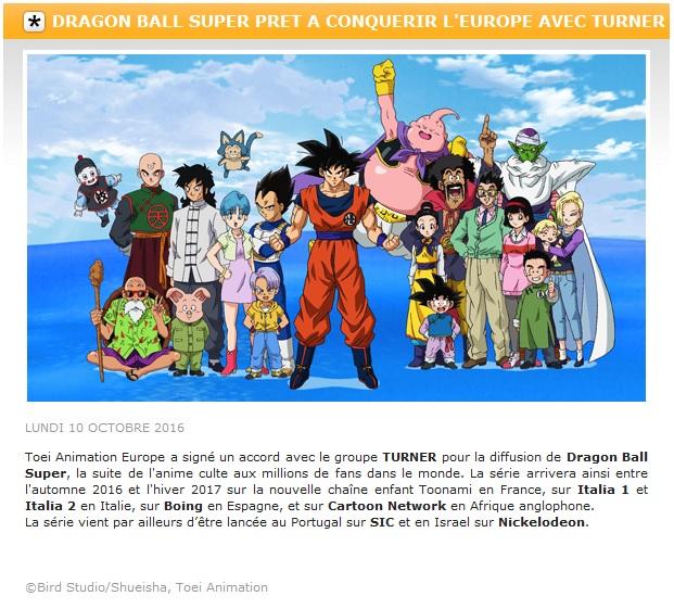 Dragon Ball Super en France d'ici cet Hiver sur Toonami !
