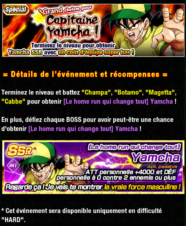Dragon Ball Z Dokkan Battle : Grand Chelem pour Capitaine Yamcha !