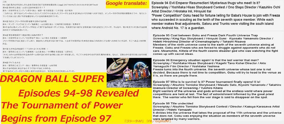 Sinopses vazadas dos episódios 94, 95, 96, 97 e 98 de Dragon Ball Super