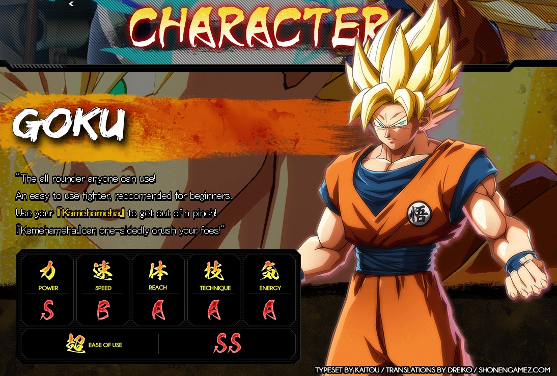 Dragon Ball FighterZ : Stats de Goku