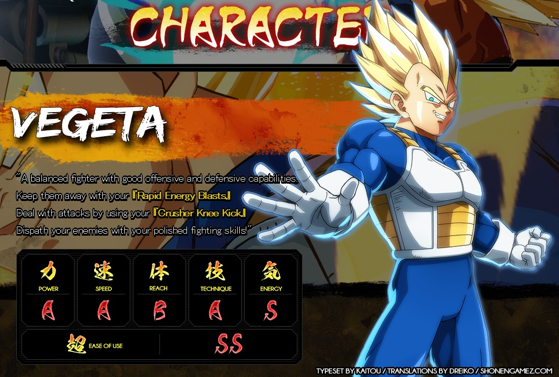 Dragon Ball FighterZ : Stats de Vegeta