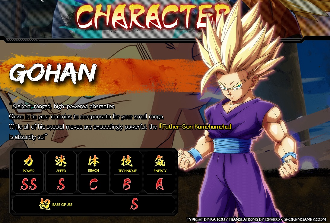 Dragon Ball FighterZ : Stats de Gohan Ado