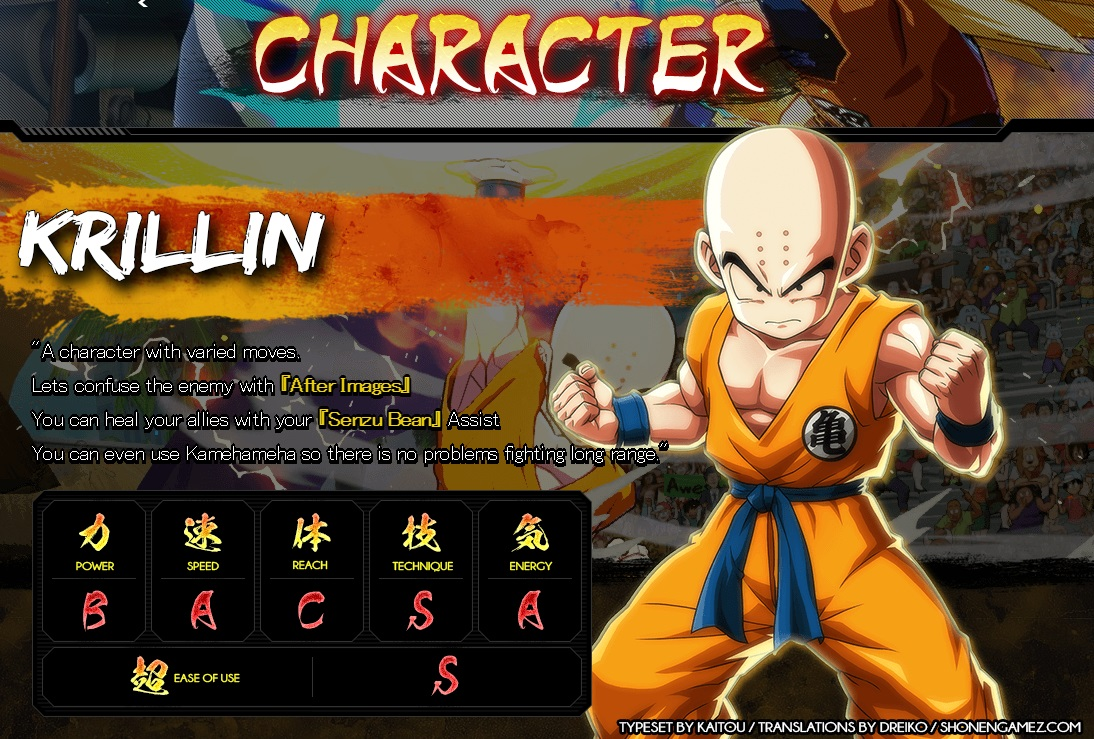 Dragon Ball FighterZ : Stats de Krilin