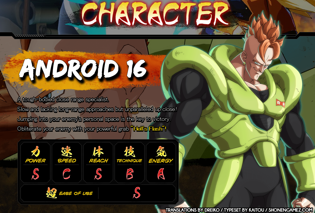 Dragon Ball FighterZ : Statistiques de C16