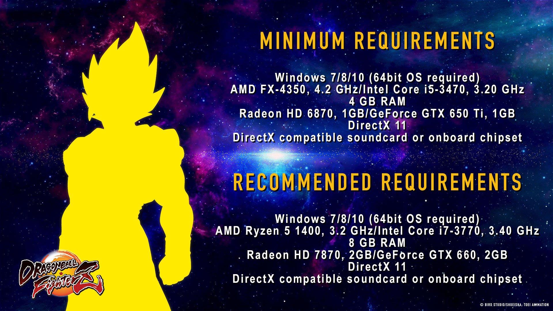 La configuration PC requise pour Dragon Ball FighterZ