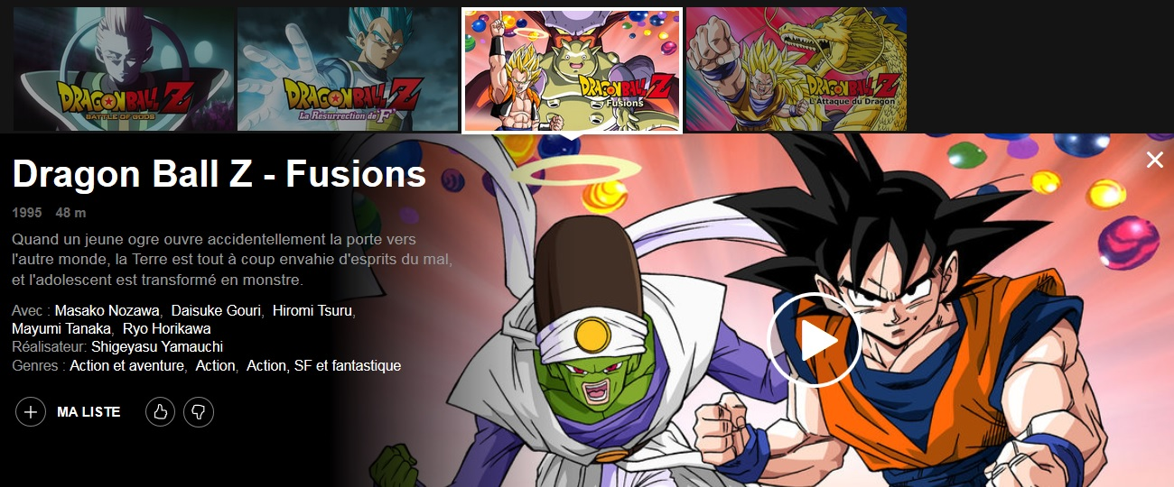 Les films Dragon Ball Z Fusions et L'attaque du Dragon disponibles sur Netflix