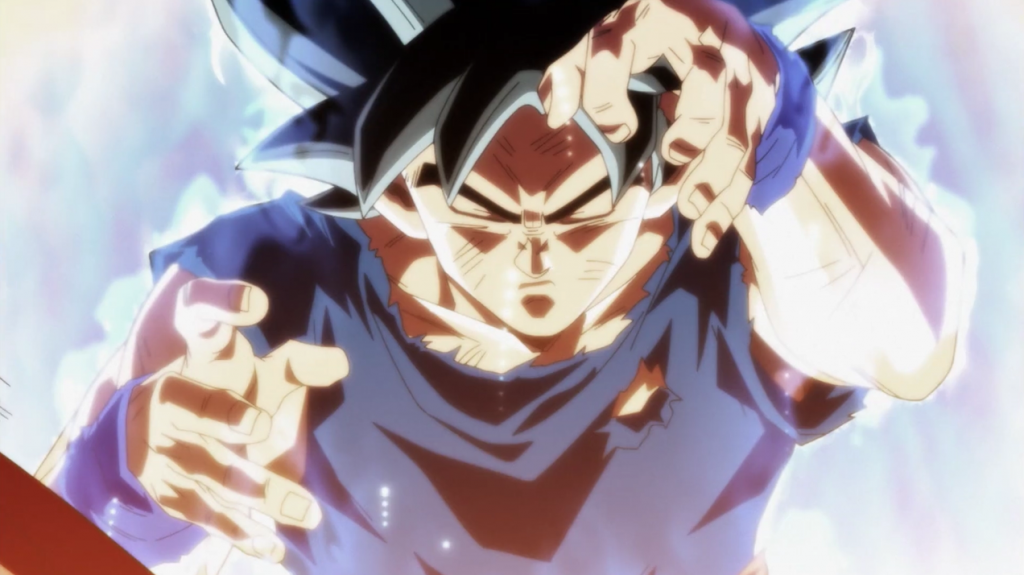Gokû combat les yeux fermés en Ultra Instinct