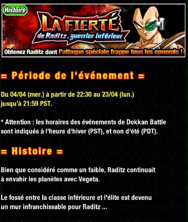 Dragon Ball Z Dokkan Battle : La Fierté de Raditz, guerrier inférieur