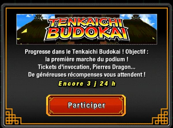 Le 20ème Tenkaichi Budokai dans Dragon Ball Z Dokkan Battle a commencé