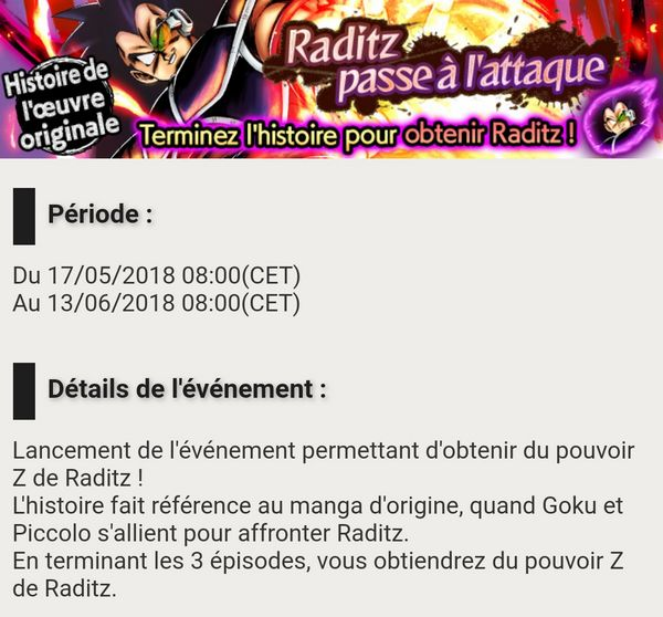 Dragon Ball Legends - Raditz passe à l'attaque