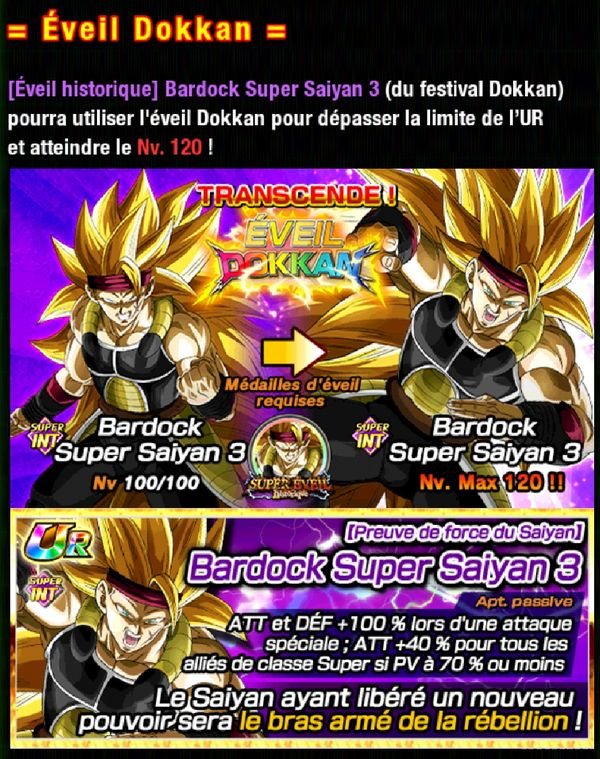 Dragon Ball Z Dokkan Battle : Super Eveil Historique Bardock SSJ3