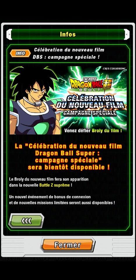 Dragon Ball Z Dokkan Battle : Broly du nouveau film débarque