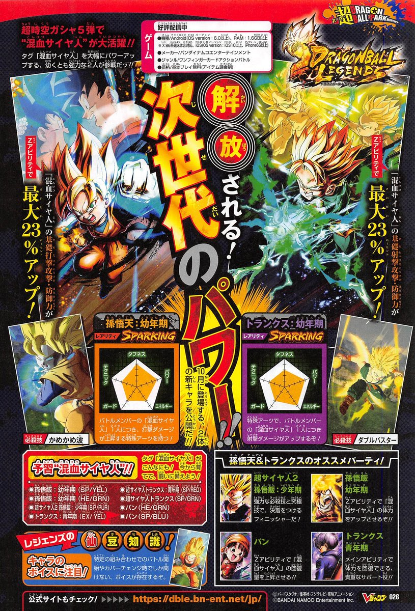 Dragon Ball Legends : Goten et Trunks SPARKING annoncés pour octobre