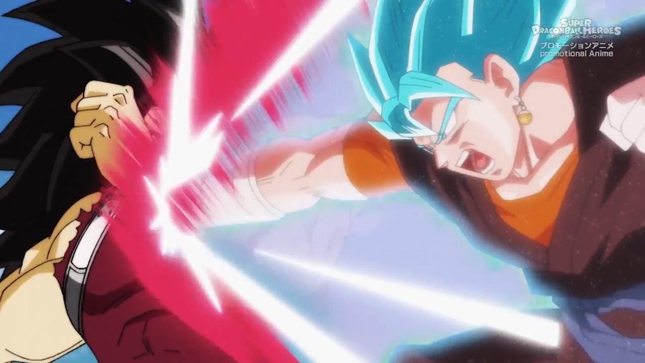 Super Dragon Ball Heroes épisode 3 Vegetto Blue kaioken vs cumber