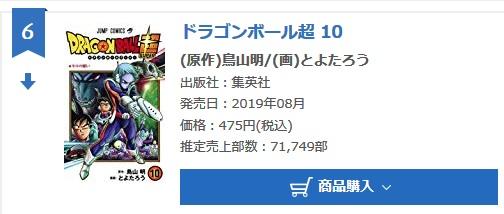 Dragon Ball Super tome 10 : Chiffres de vente pour la deuxième semaine au Japon