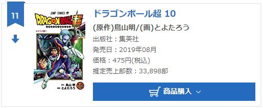 Dragon Ball Super Tome 10 : Chiffres de vente pour la troisième semaine au Japon