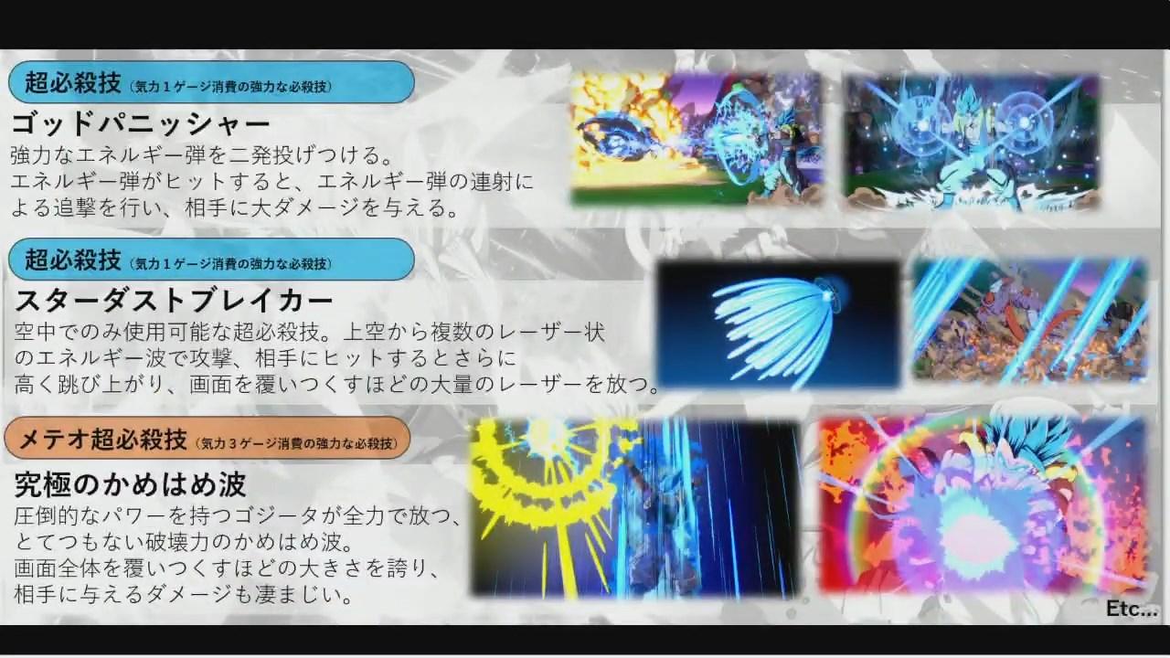 Dragon Ball FighterZ : Statistiques et Super Attaques de Gogeta