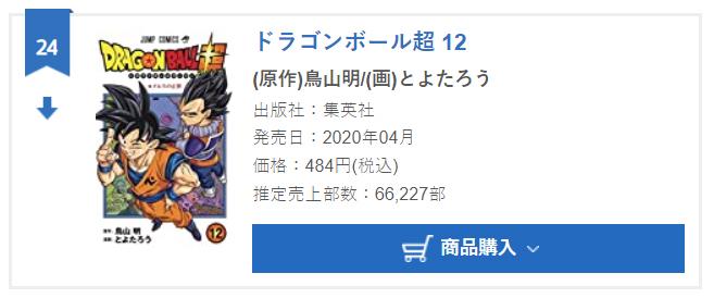 Dragon Ball Super tome 12 : Chiffres de vente pour la deuxième semaine au Japon