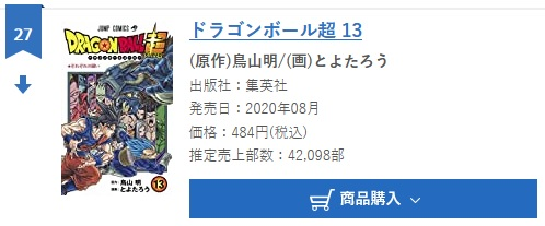 Dragon Ball Super tome 13 : Chiffres de vente pour la deuxième semaine au Japon
