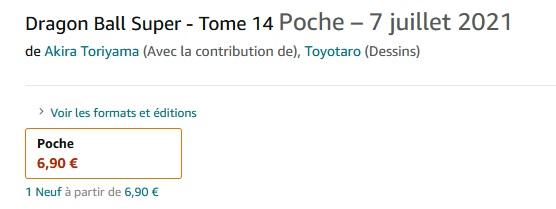 Dragon Ball Super : Le tome 14 listé en France par Amazon