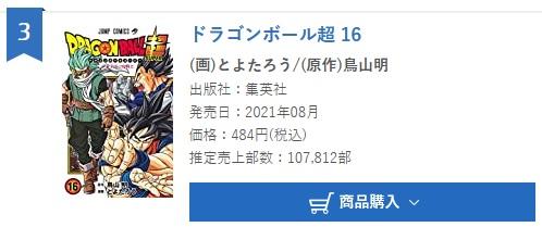 Dragon Ball Super tome 16 : Chiffres de vente pour la première semaine au Japon